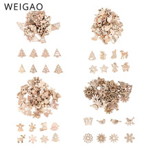 WEIGAO 50pcs Wooden Christmas Tree Hanging Ornaments Pendant Mini Snowflake Tree Chip Christmas Decoration for Home Navidad NoeL