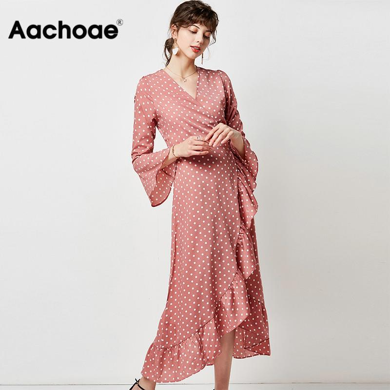 Polka Dot Dress Women Boho Maxi Long Casual V Neck Split Sexy Wrap Dresses Flare Long Sleeve Ruffle Elegant Dress Robe Longue
