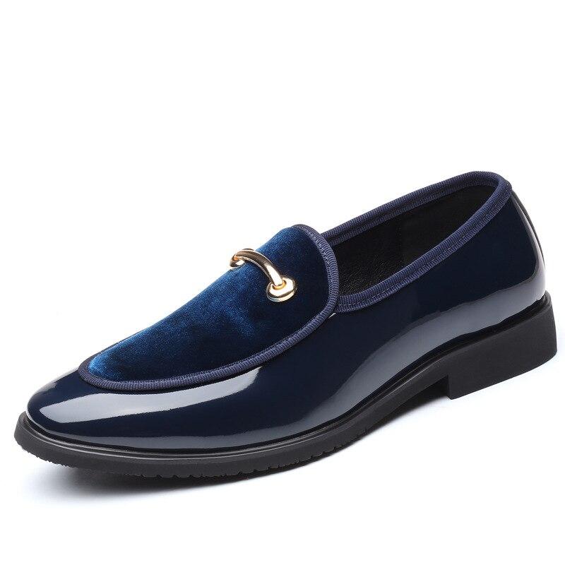 Сезон весна-лето; дышащие мокасины; мужские лоферы; мужская обувь на плоской подошве; кожаная повседневная прогулочная обувь для вождения; - Цвет: BLUE