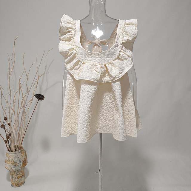 LANMREM Black Beige Big Flower Dress Half High Neck Bow Decoration High Waist Printed Cute Dresses Female 2021 New 2A8015 5