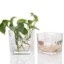Vaso de vidro quadrado pequeno transparente vasos de flores & copo de vaso de planta de vidro