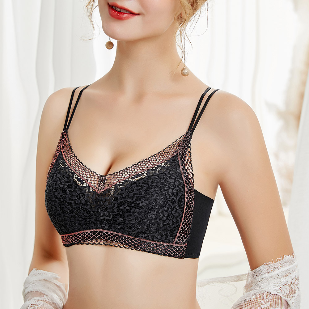 Womens Lace Bras Double Shoulder Strap Wireless Sexy Lingerie High-end Refined Brassiere Tops A B C Cup 2