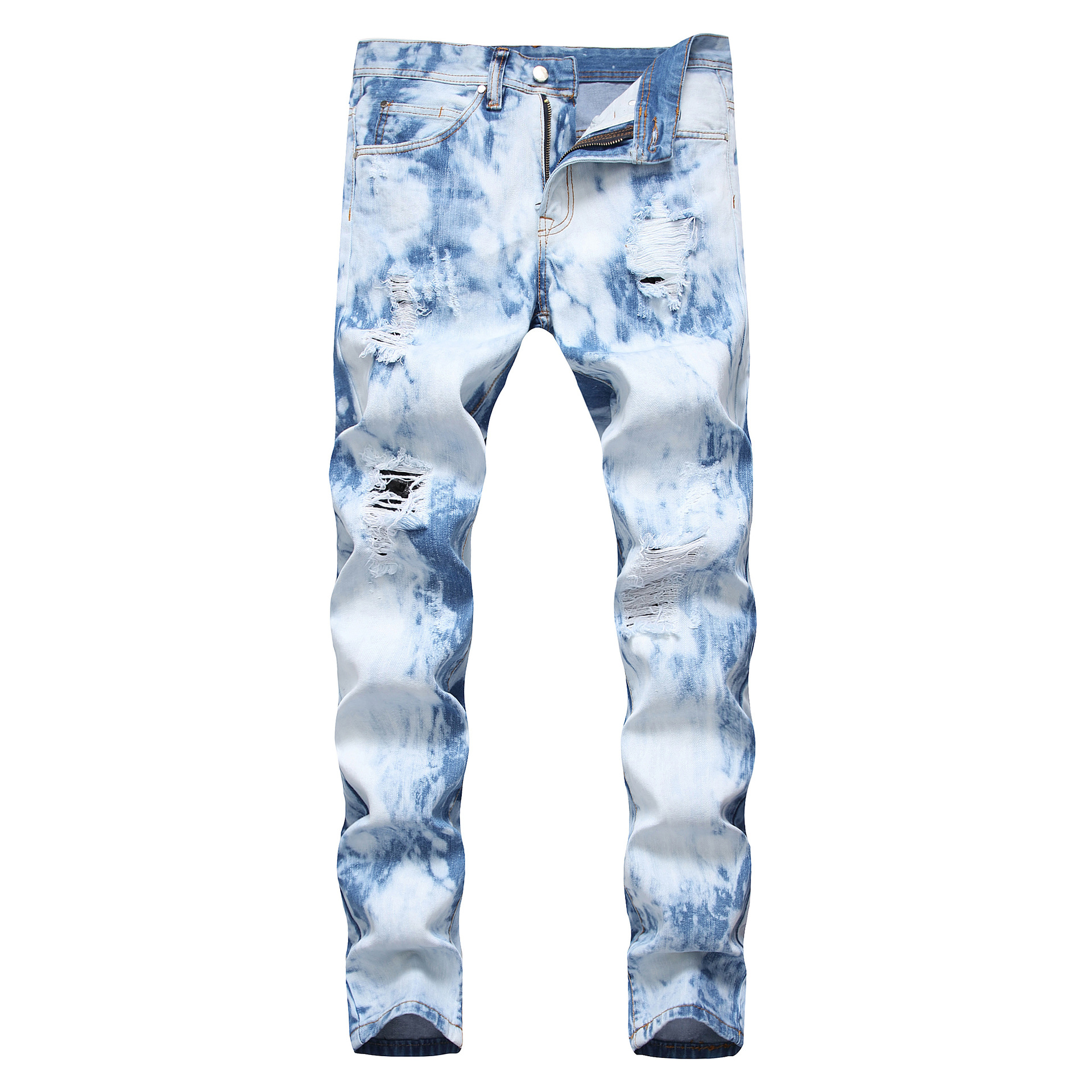 Mens High Street Jeans Fashion Tide Male Straight Cat  Hole New Craft