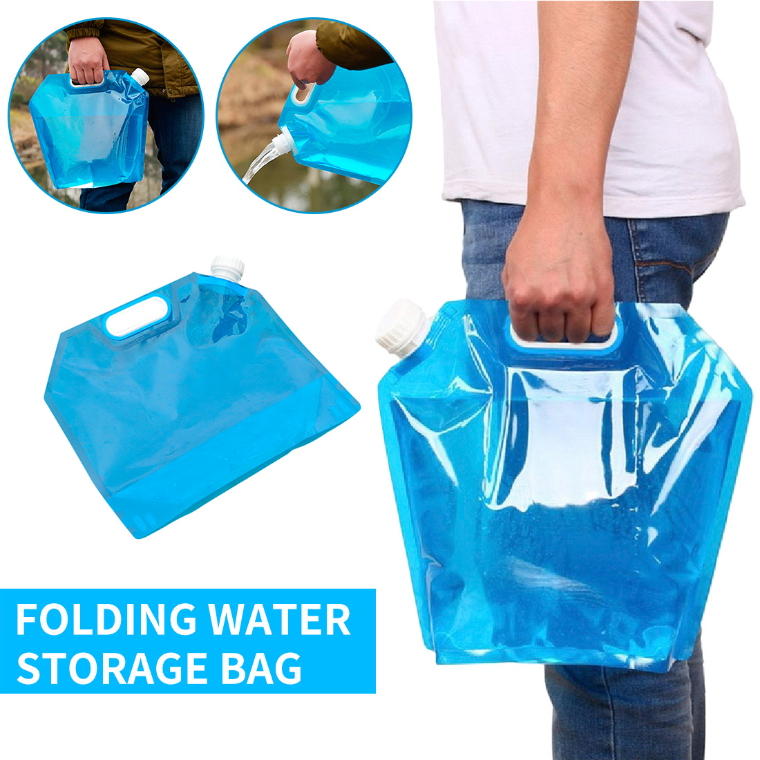 Car Water Bag Carrier Container Outdoor Foldable Folding Collapsible Drinking