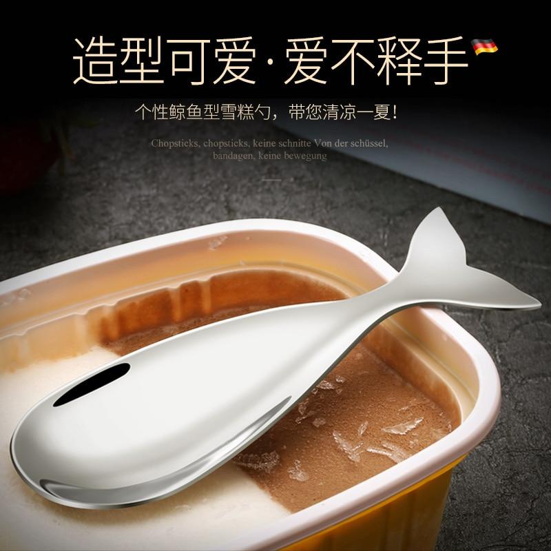 Cartoon Ice Cream Spoon Whale Shape Kiwi Ice Cream Jam Stainless Steel Spoon