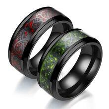 Нержавеющая сталь вечерние кольца с китайским драконом черное