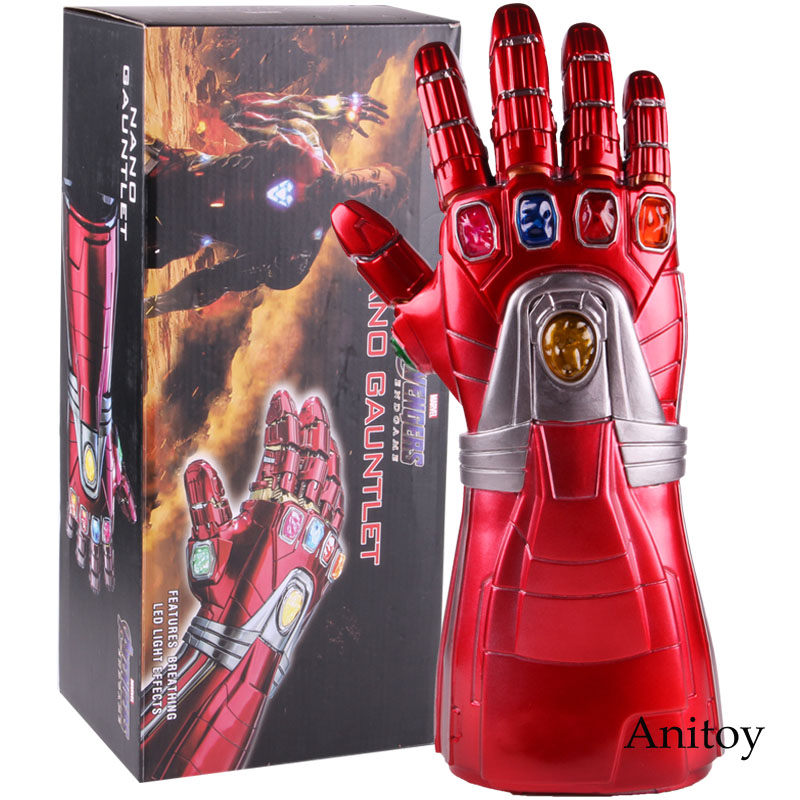 Avengers Endgame Iron Man Nano Gauntlet Infinity Gauntlet Glove Cosplay PVC Action Figure Collectible Model Toy With LED Light
