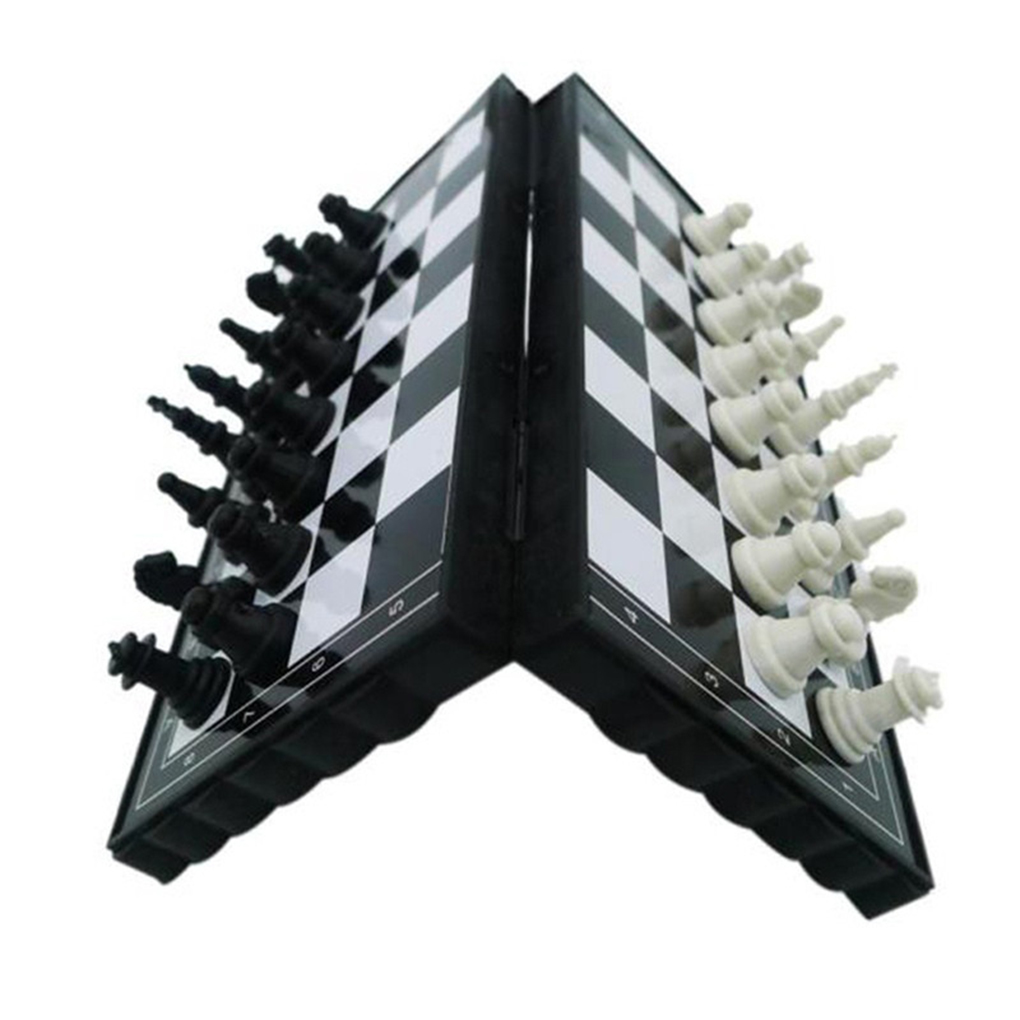 Mini Chess Set Folding Plastic Chessboard Lightweight Board Game Home Outdoor Portable Kid Toy