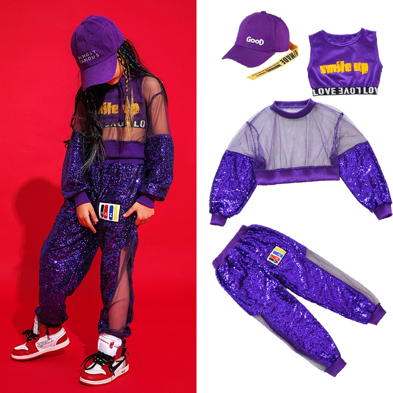 Dance Practice Performance Clothing Stage Dancing Outfit Jazz Dance Costumes Purple Girls Hip Hop Dance Street Dance Clothes