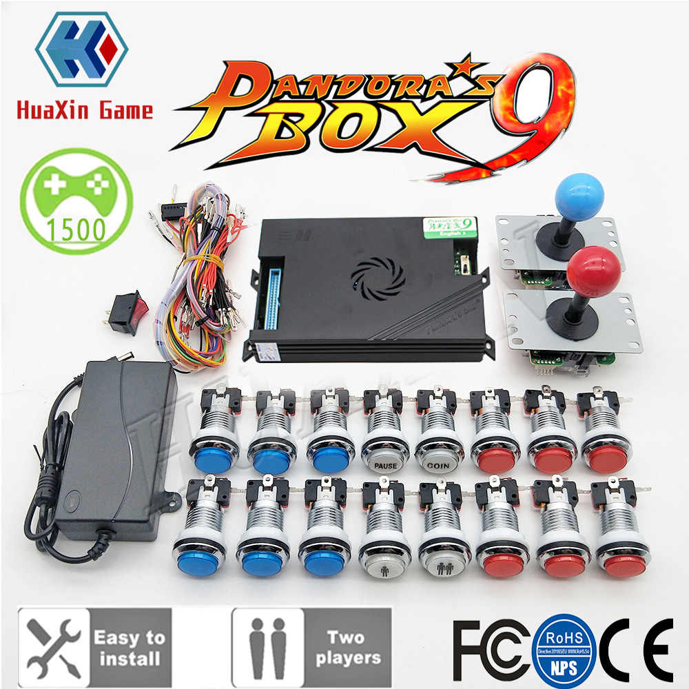 비디오 튜토리얼 2 플레이어 원래 판도라 박스 9 키트 복사 SANWA 조이스틱, 크롬 LED 푸시 버튼 DIY 아케이드 기계 홈 캐비닛