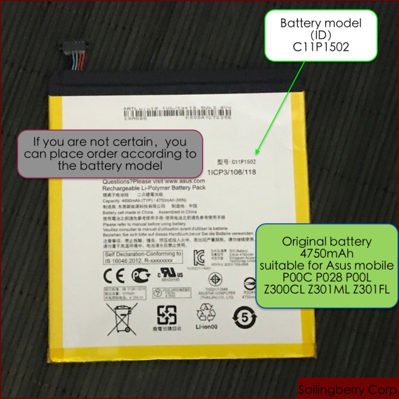 Battery suitable for ASUS mobile ZenPad0、P00C、 P028、 P00L、 Z300CL、 Z301ML、 Z301FL with battery model C11P1502 image