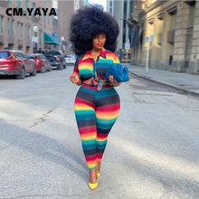 CM.YAYA-Conjunto de chándal para mujer, blusa y pantalón de chándal a rayas de arco iris, conjunto de dos piezas, ropa de Fitness de talla grande