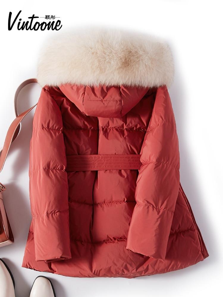 Winter Coat Female Thick Warm Real Fox Fur Hooded Duck Down Jacket Women Clothes 2020 Korean Elegant Down Parka Hiver 009