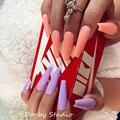 Розовые очень длинные гробы накладные ногти полное покрытие глянцевые накладные ногти с клеем стикер Длинные балерины накладные ногти на Х...
