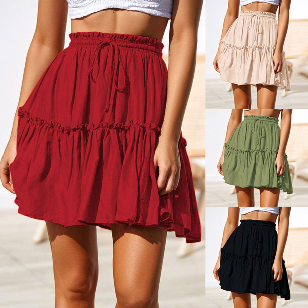 2019 Fashion Skirts Women Sexy Casual Solid Jupe Femme Ruffles A-Line Pleated Spodnica Lace Up Short SKirt Falda Mujer Jupe #C9