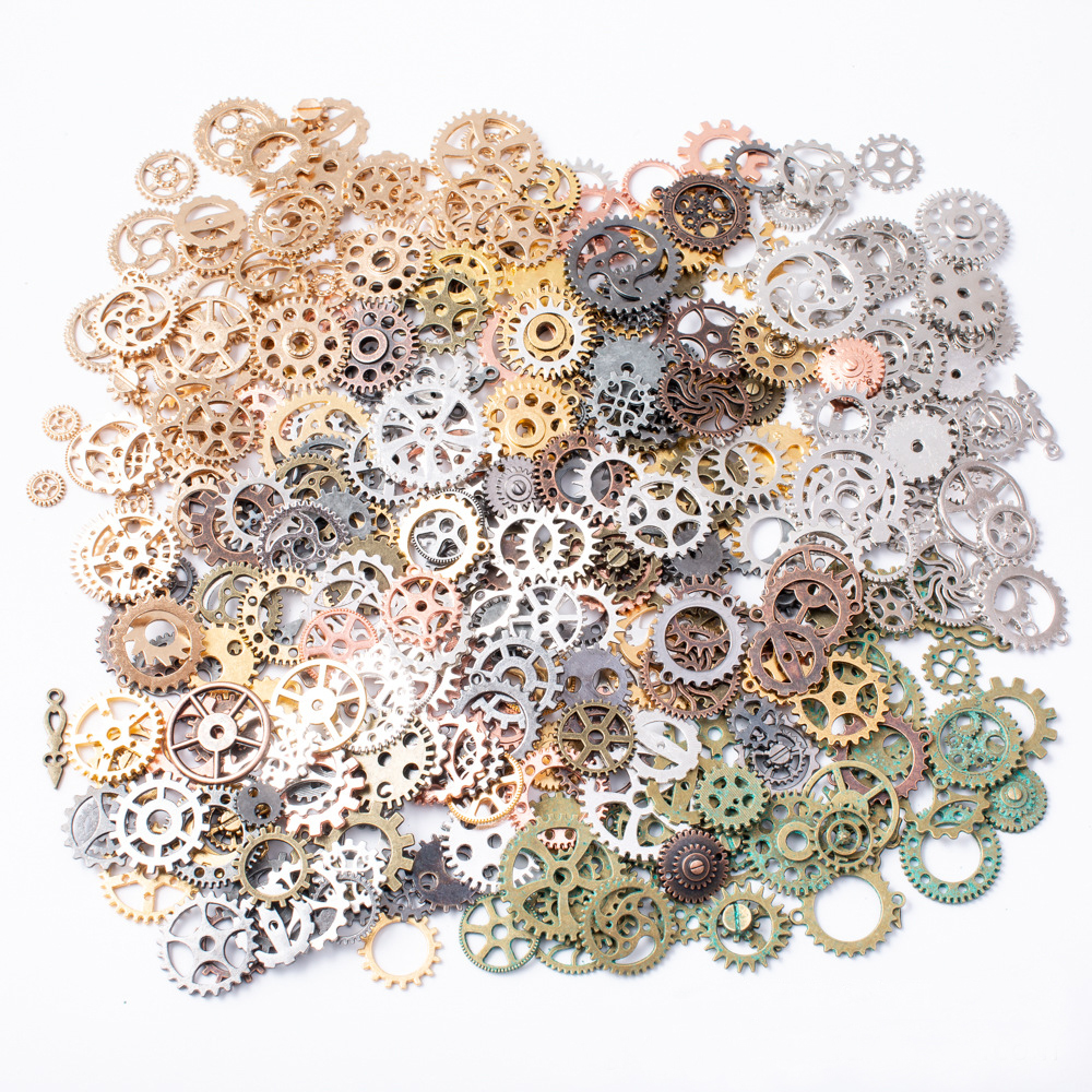 50g/lot Mixed Antique Steampunk Cogs & Gears Charms DIY Pendant Charms Jewelry Making Vintage Bracelets Craft Metal Zinc Alloy
