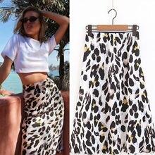 Для женщин юбка до колен пикантные ботильоны с леопардовым принтом; дамская мода Повседневное вечерние юбка костюм летняя одежда для девочек