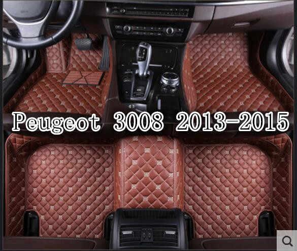 tapis de sol en cuir 3d personnalise accessoires de voiture de luxe pour peugeot 3008 2009 2010 2011 2012 2013 2014 2015