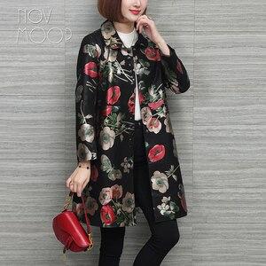 Image 3 - Novmoop rus rahat çiçek baskılı artı boyutu hakiki deri ceket kadın kış bahar ceket cuero genuino chaqueta LT2967