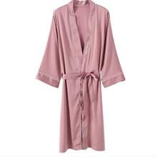 Новые летние женские длинный Халат пижама из искусственного