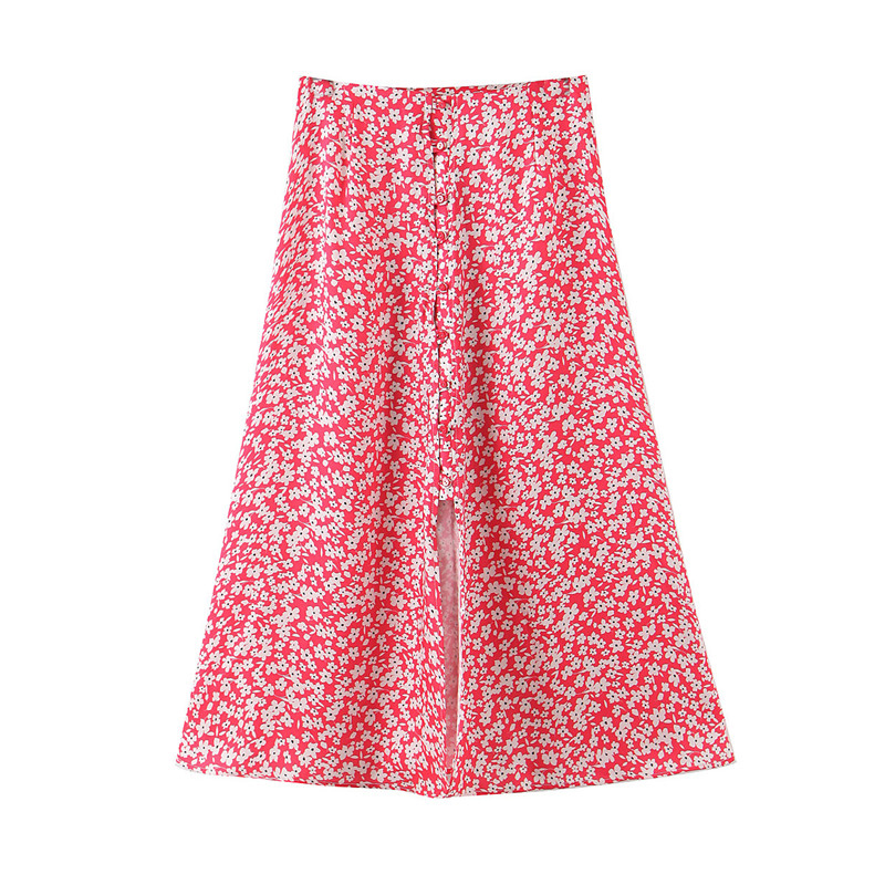 Stylish Chic Floral Print Midi Skirt Women Vintage High Waist Split Buttons Female Skirts 2020 Casual Faldas Mujer