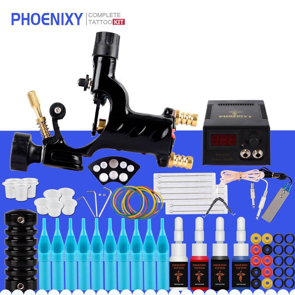 Professional Tattoo Kit 1 Rotary Machine Gun Set 4 Colors Ink Black Pigment Set Power Tattoo Permanent Makeup Tattoo Machine Set