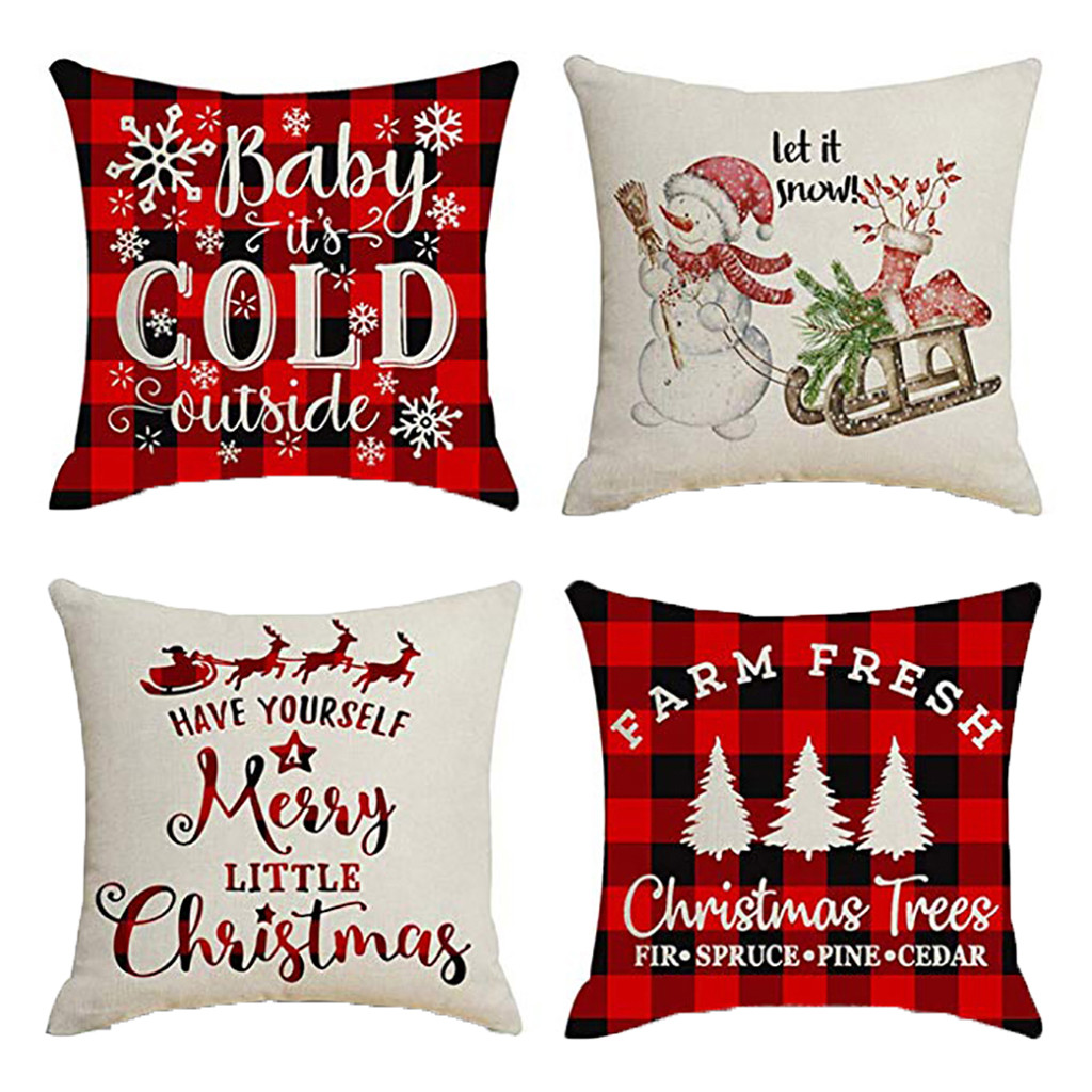 4Pcs Xmas Home Decor Cushion Cover Graffi Style Throw Pillowcase Cushion Covers