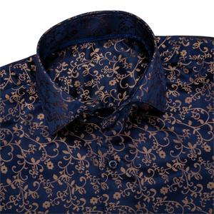 Image 4 - Barry.Wang Gold Soft Silk Shirts Men Autumn Long Sleeve Casual Flower Shirts For Men Suit Party Designer Fit Dress Shirt BCY 06