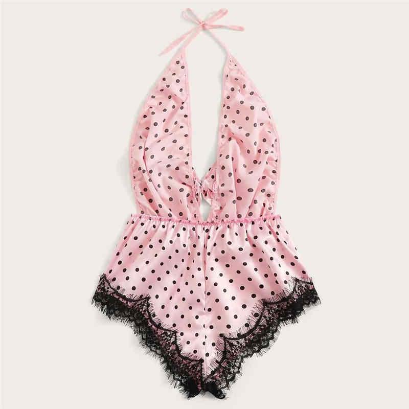 여성 섹시한 레이스 새틴 란제리 부드러운 실크 Nightwear 여름 잠옷 세트 Nighties 여성용 핑크 나이트 드레스 착용 깊은 v-목