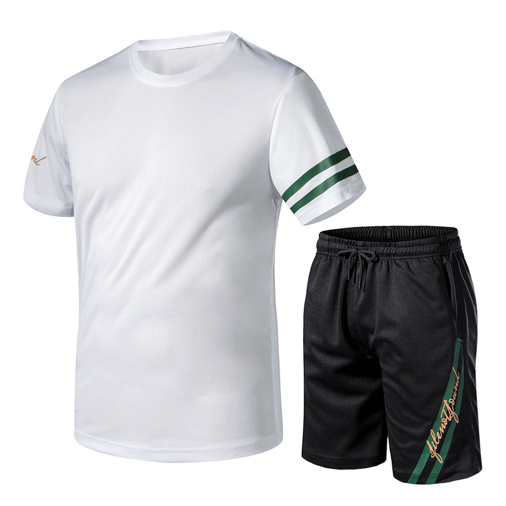 Men Short Sleeve Two Pieces Drawstring Active Shorts Tracksuit Outfit Set