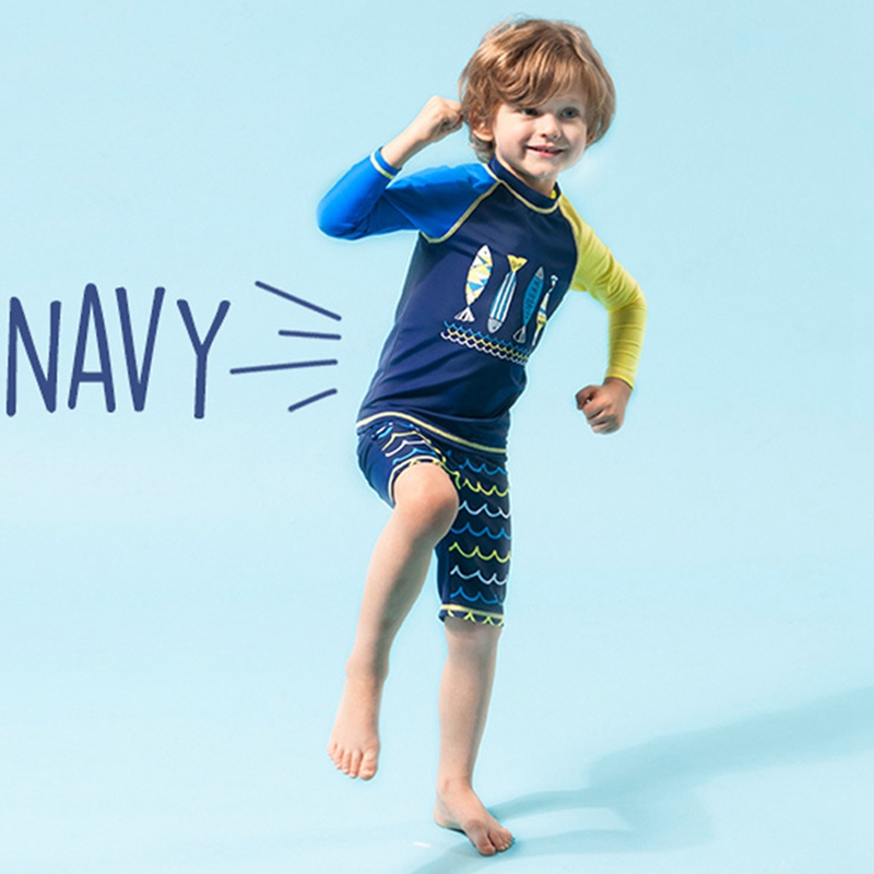Boy Swimwear Set Children Kid Printed Nylon Long Sleeve Sunshade Shirt And Fifth Pant Short Swimsuit Beach Suit Swimming Surfing