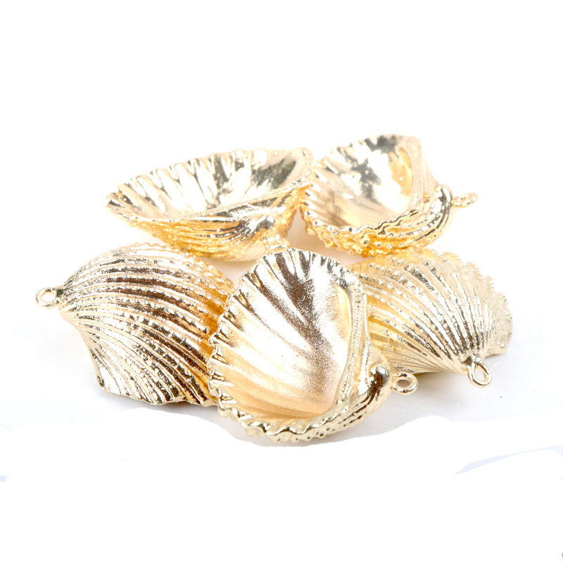 Gold Plating Aquarium Beach Nautical DIY Shells Colorful Natural Seashells Decorations Scallop Shells Crafts Decor Ornament 5Pcs
