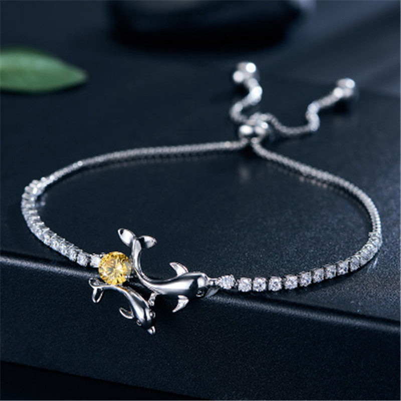 Animals dolphins bracelet Copper plating Set auger Women fashion jewelry Holiday gifts wholesale