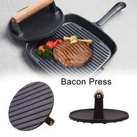 BBQ 7 Inch Cast Iron Bacon Press With Wood Handle Round Grill Accessories Meat Press Steak Extruding Tasty Barbecue Tool