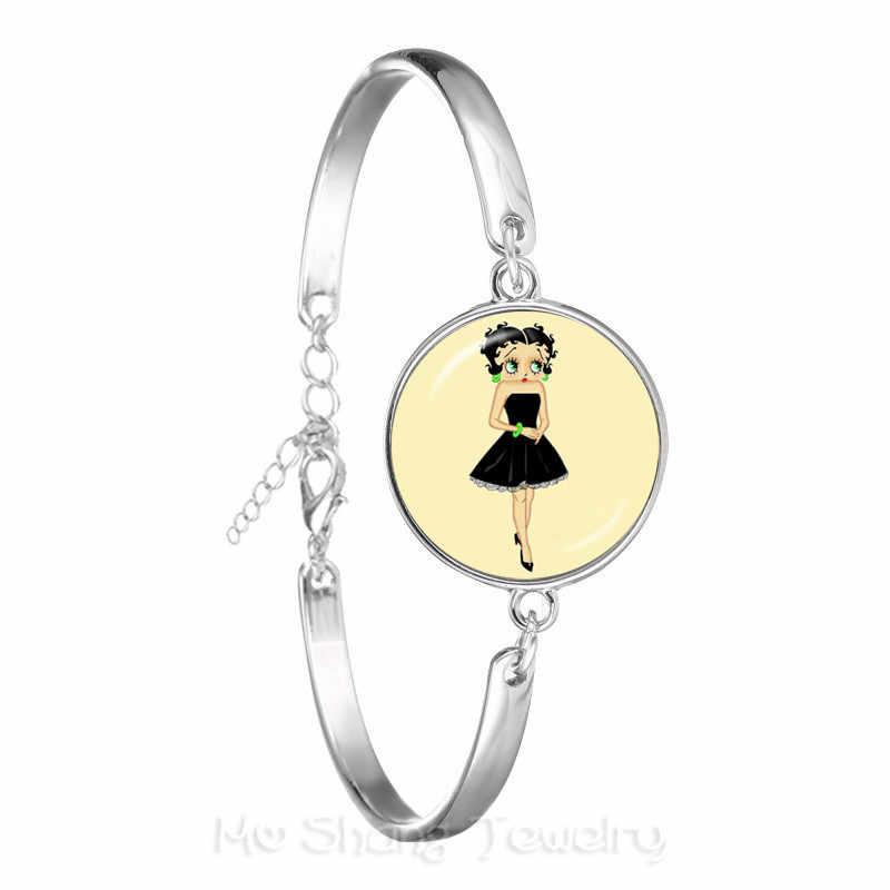 בטי בופ צמיד Harajuku חמוד קריקטורה 18mm זכוכית קרושון תכשיטי אופנה כסף מצופה צמיד מתנות הטובות ביותר עבור נשים גברים