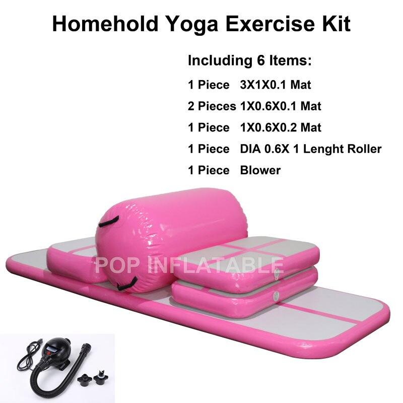 Livraison gratuite Airtrack ensemble matelas de gymnastique gonflable salle de sport dégringolade Air piste sol Tumbling Air piste tapis Yoga Kit dexercice
