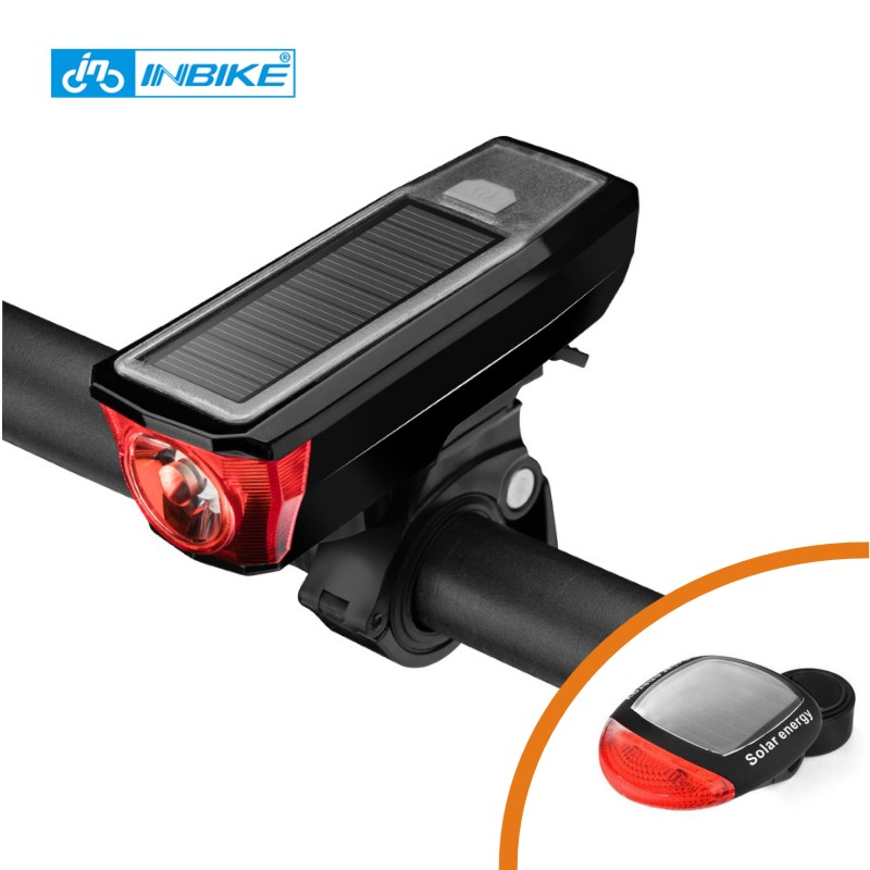 Solar Power Bicycle Front Light Bike Tail Rear Light Bicycle USB Rechargeable Lamp Cycling LED Flashlight Lantern Horn Bell
