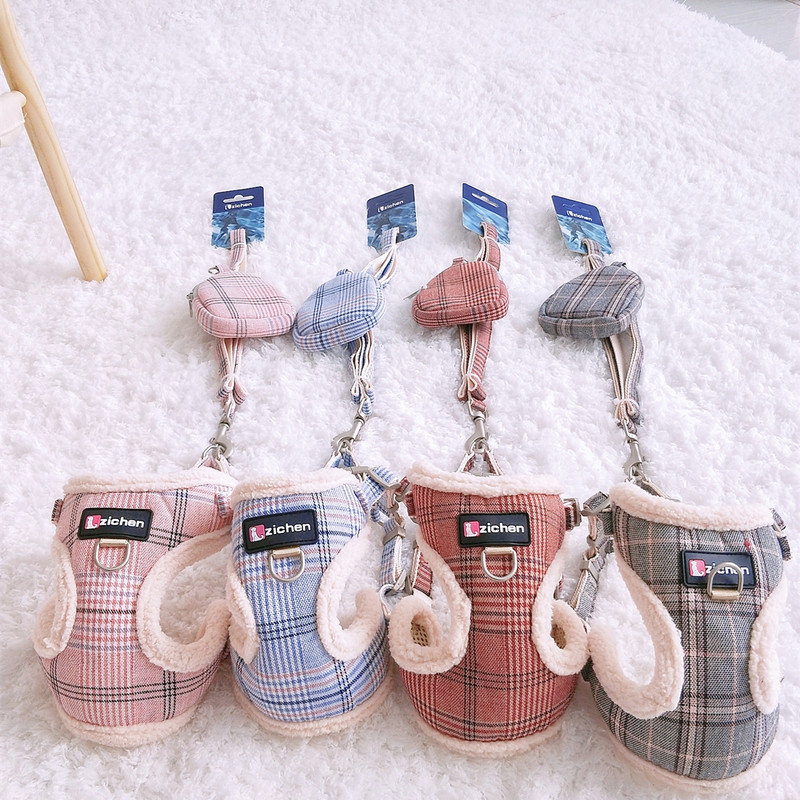 Plaid Pet Rope Lanyard Chest Pomeranian Dog Traction Puppy Dog Suspender Strap Teddy Unscalable Dogs Chinlon Back Type