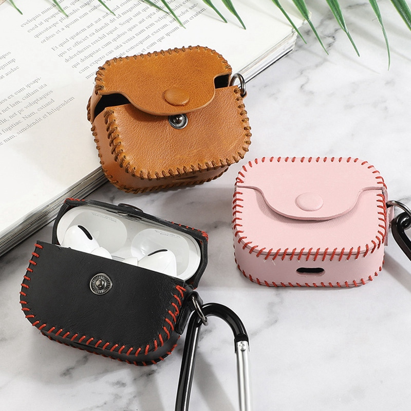 Handmade Genuine Leather Case for Pro Shockproof Cover with Anti-Lost Buckle for 3 Charging Box