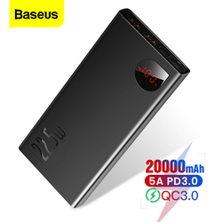 Baseus 20000mAh Power Bank USB C PD Fast Charging Quick Charge 3.0 5A SCP Powerbank For iPhone Portable External Battery Charger