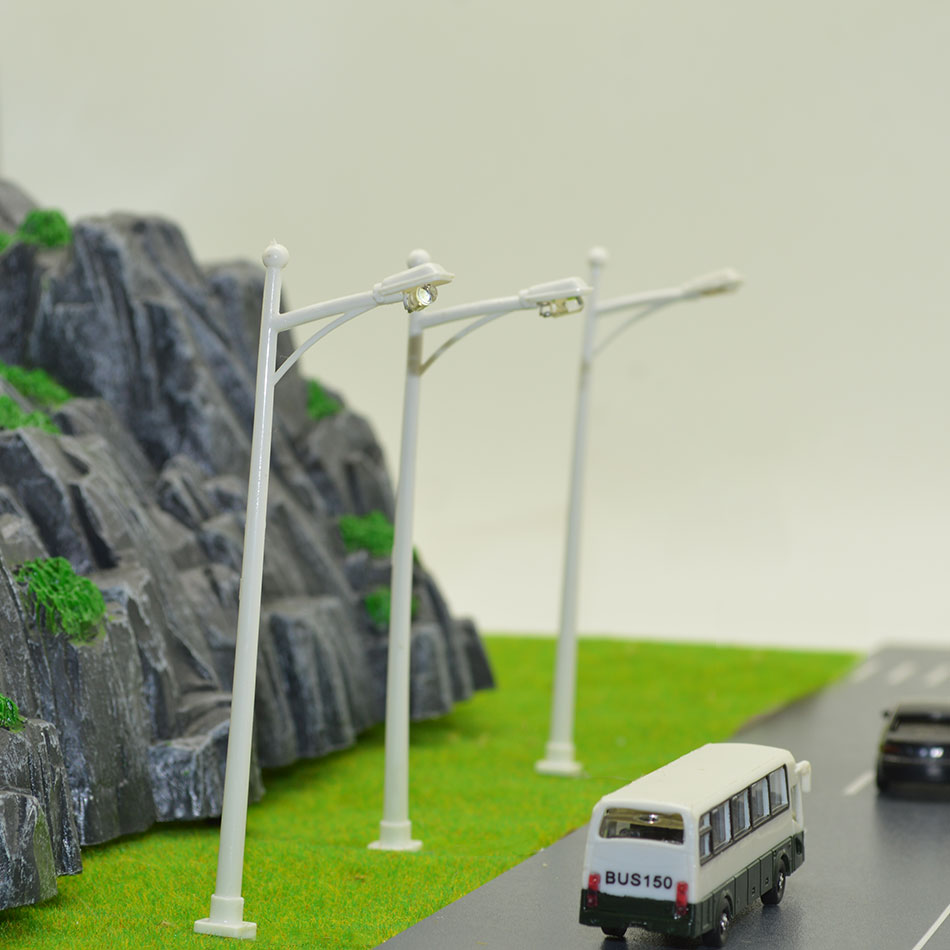 1:100 Scale LED Street Light Toys 10cm Height Model Railway Coolwhite Light Lamp For Diorama Miniature Architecture Scenery Kits
