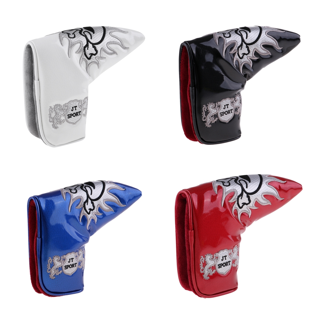 Premium Durable PU Skull Head Magnetic Golf Blade Putter Head Cover Headcover Protector Bag Accessories - 4 Colors
