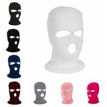 Зимний теплый для катания на лыжах Велоспорт 3 отверстия капюшон-Балаклава Крышка полная маска для лица Открытый Туризм теплая маска для лица