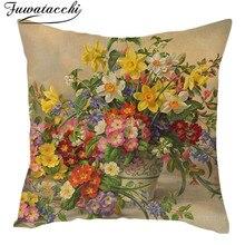 Fuwatacchi Vintage pintura al óleo flores funda de cojín europeo Retro pájaros Arte de flores funda de cojín doble Lino funda de almohada