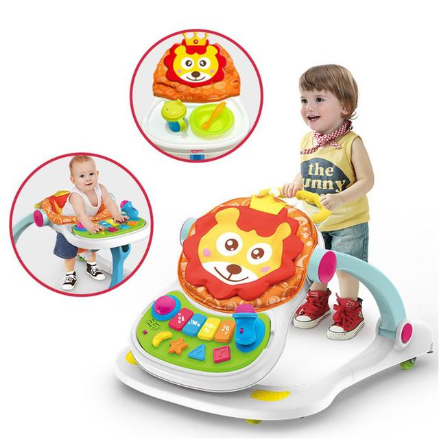 Baby Walker Toys 4-in-1 Toddler Trolley Children Multi-function Anti-rollover Adjustable Height Sit-to-Stand Musical Walker