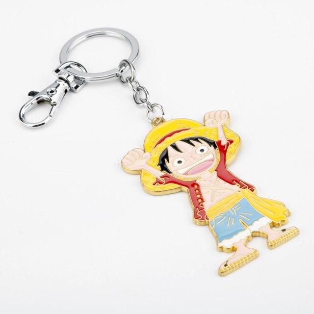 원피스 열쇠 고리 에이스 & 형제 밀짚 모자 Luffy брелок 열쇠 고리 1pc 도매 유행 열쇠 고리 llavero 차 열쇠 고리 부속품
