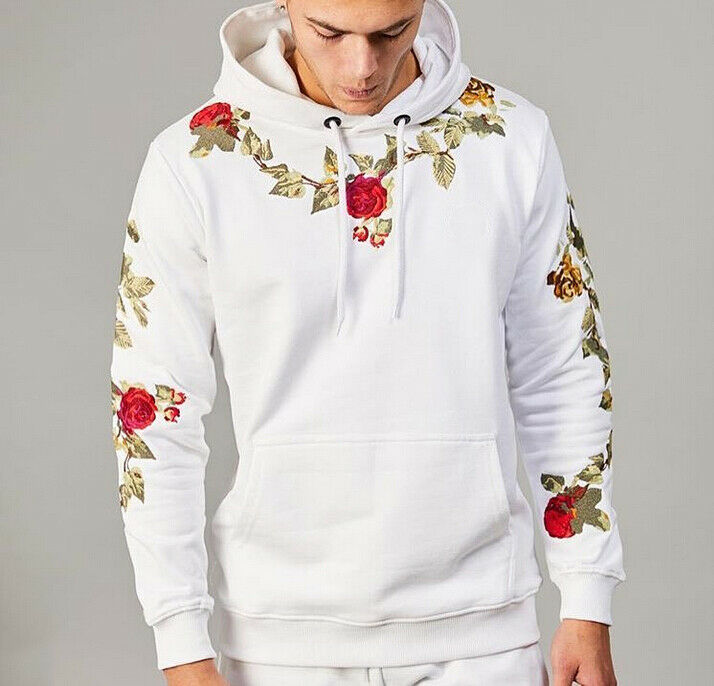 Goocheer Men Embroidery Floral Hooded Pullover Hoodies High Street Fashion Cotton Hip Hop Slim Streetwear O-neck Hoodie M-3XL