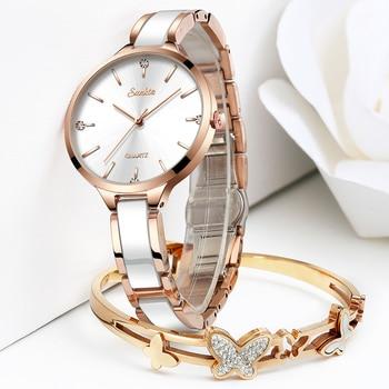 שעון קרמי קריסטלי עמיד למים לאישה