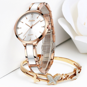 Image 4 - SUNKTA 2019 Simple Thin Rhinestone Rose Gold Quartz Watch Women Fashion Ladies Watch Womens Watches Dress Wristwatch For Women