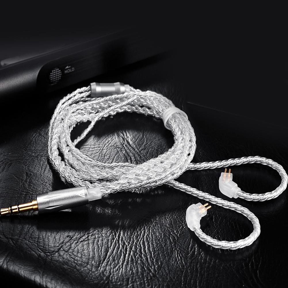 Detachable <font><b>0.75mm</b></font> <font><b>2</b></font> <font><b>Pin</b></font> Stereo Wired Earphones <font><b>Cable</b></font> for QKZ VK1 VK2 VK6 VK8 Replacement Silver Plated Wire image